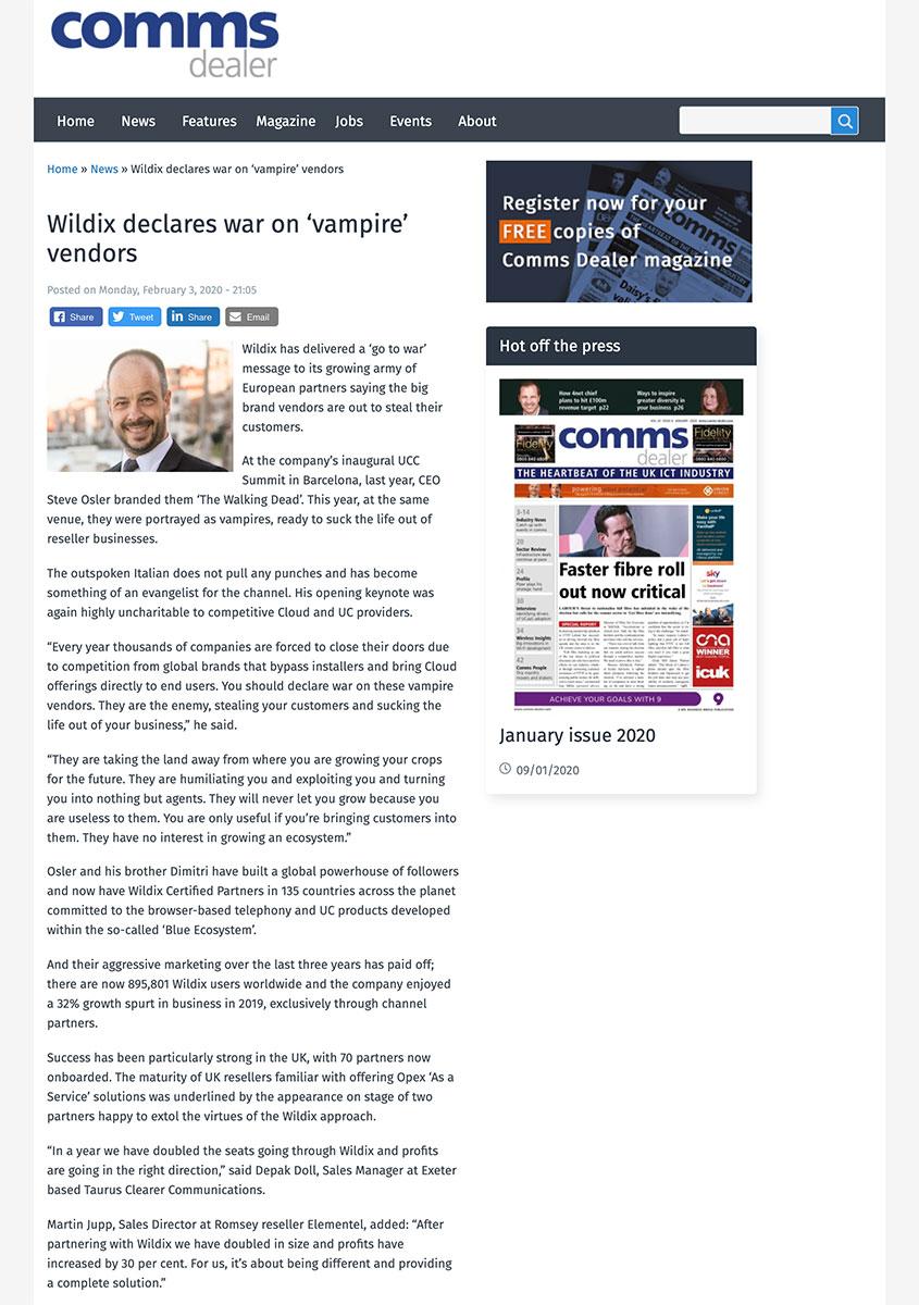Wildix declares war on 'vampire' vendors – Comms Dealer
