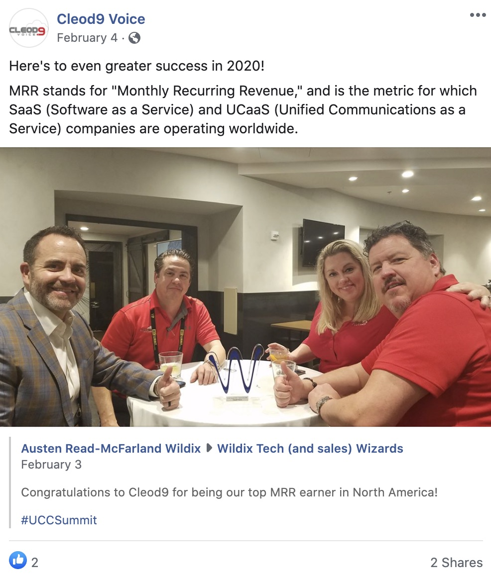 Facebook Post by Wildix Partners